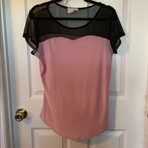 Millennium Pink blouse with black mesh top